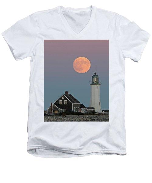 Moon Rise Over Scituate Men's V-Neck T-Shirt by Stephen Flint