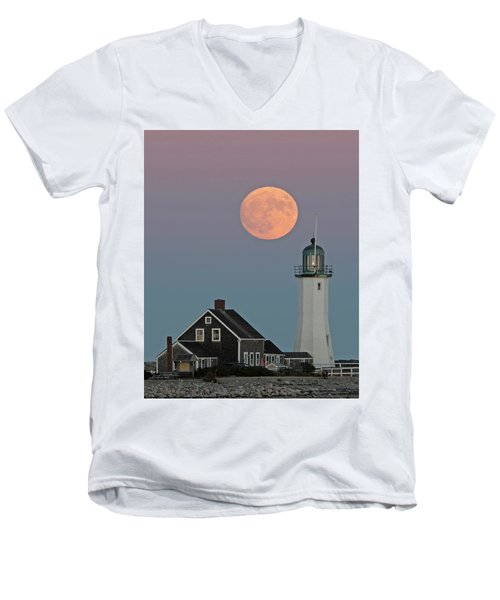 Moon Rise Over Scituate Men's V-Neck T-Shirt