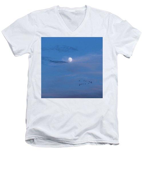 Moon Rises Geese Fly Men's V-Neck T-Shirt