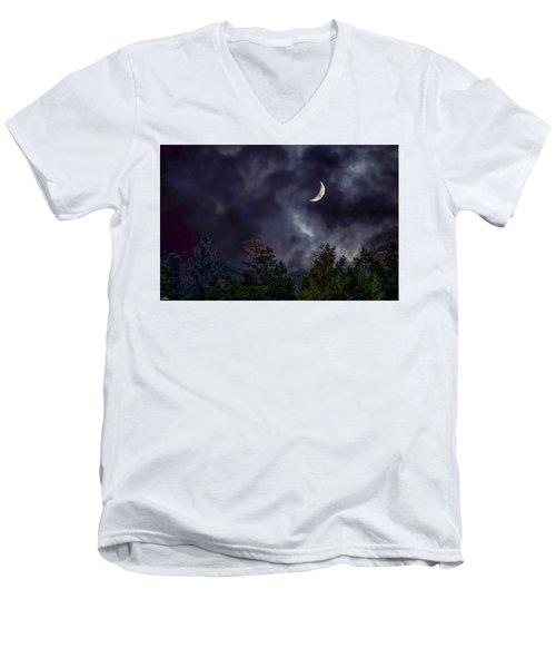 Moon Shine Over The Okanagan Men's V-Neck T-Shirt