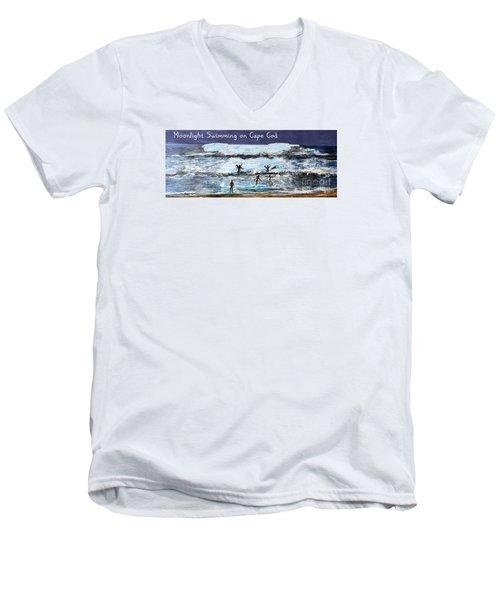Moonlight Swimming On Cape Cod Men's V-Neck T-Shirt by Rita Brown