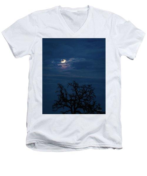 Moonlight Through A Blue Evening Sky Men's V-Neck T-Shirt