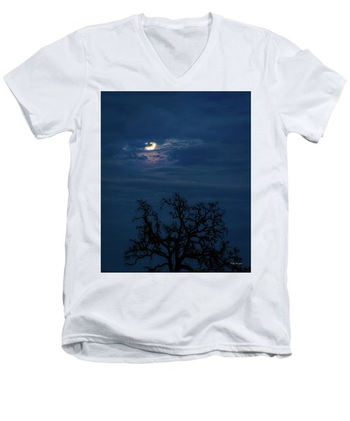 Moonlight Through A Blue Evening Sky Men's V-Neck T-Shirt