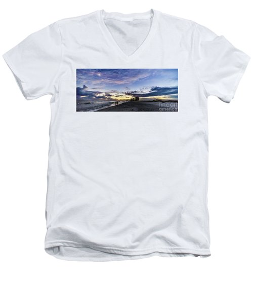Men's V-Neck T-Shirt featuring the photograph Moonlit Beach Sunset Seascape 0272b1 by Ricardos Creations