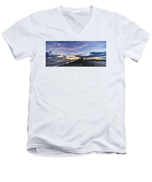 Moonlit Beach Sunset Seascape 0272b1 Men's V-Neck T-Shirt