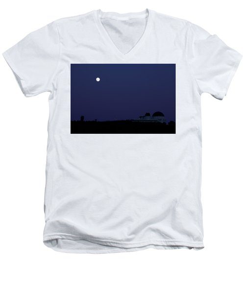 Moonrise At Blue Hour Over Griffith Observatory In Los Angeles Men's V-Neck T-Shirt