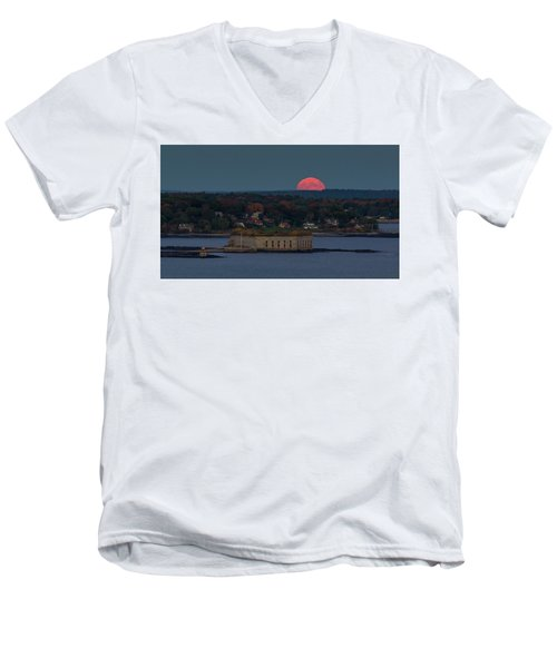 Moonrise Over Ft. Gorges Men's V-Neck T-Shirt