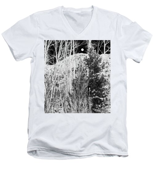 Men's V-Neck T-Shirt featuring the digital art Moonrise Over The Mountain by Will Borden
