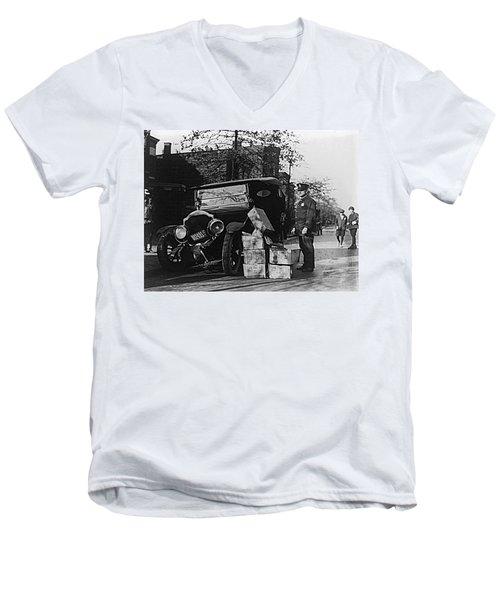Moonshine Car Chase Men's V-Neck T-Shirt