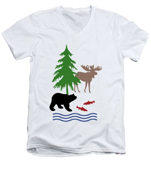 Moose And Bear Pattern Art Men's V-Neck T-Shirt
