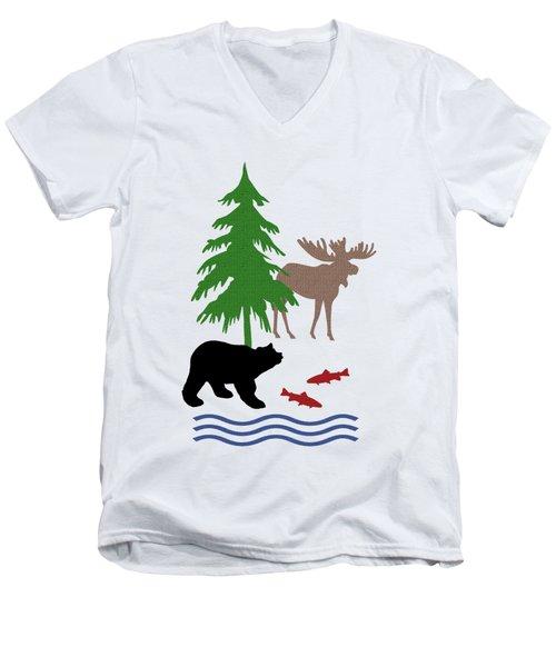 Moose And Bear Pattern Art Men's V-Neck T-Shirt