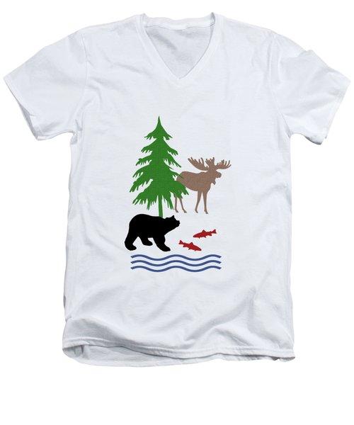Moose And Bear Pattern Men's V-Neck T-Shirt