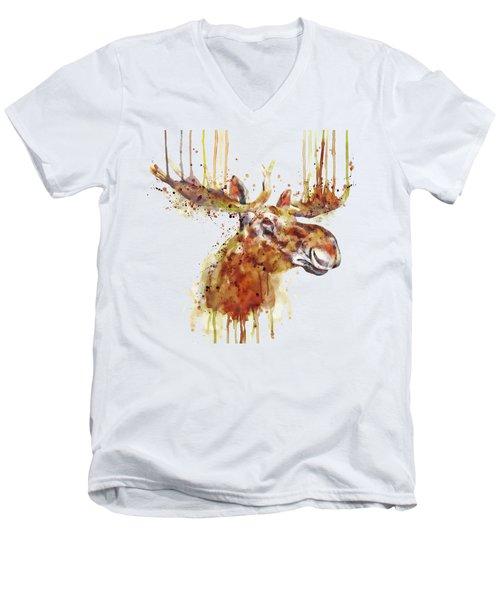 Moose Head Men's V-Neck T-Shirt by Marian Voicu