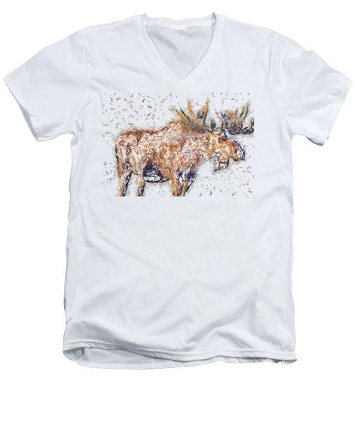 Moose-sticks Men's V-Neck T-Shirt by Elaine Ossipov