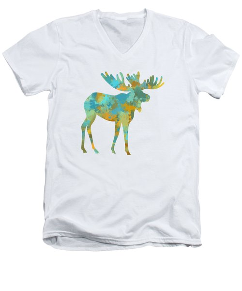 Moose Watercolor Art Men's V-Neck T-Shirt by Christina Rollo