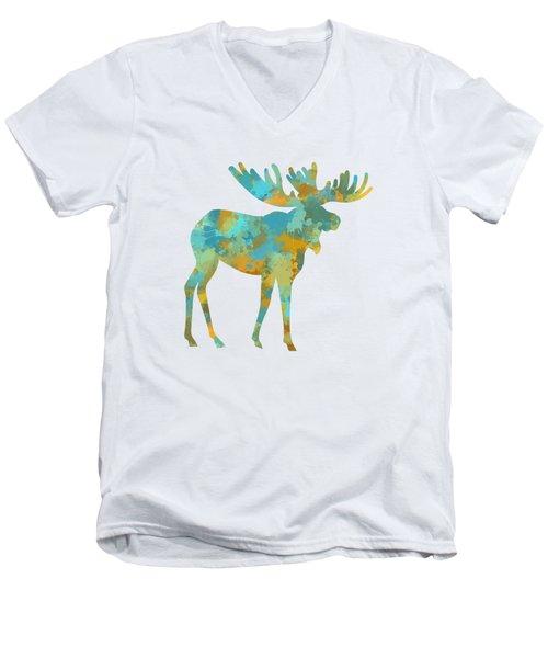 Moose Watercolor Art Men's V-Neck T-Shirt