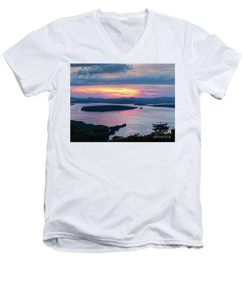 Mooselookmeguntic Lake In The Last Light Of Day - Rangeley Me  -63430 Men's V-Neck T-Shirt