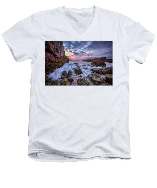 Morning At Bald Head Cliff Men's V-Neck T-Shirt by Rick Berk