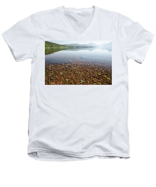 Morning At Lake Mcdonald Men's V-Neck T-Shirt
