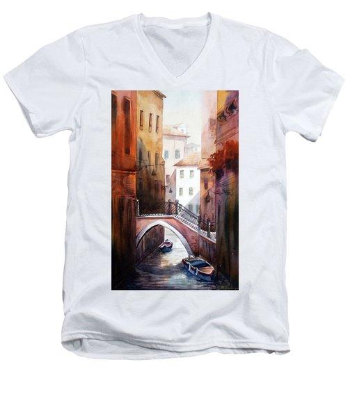 Morning Canals Men's V-Neck T-Shirt by Samiran Sarkar