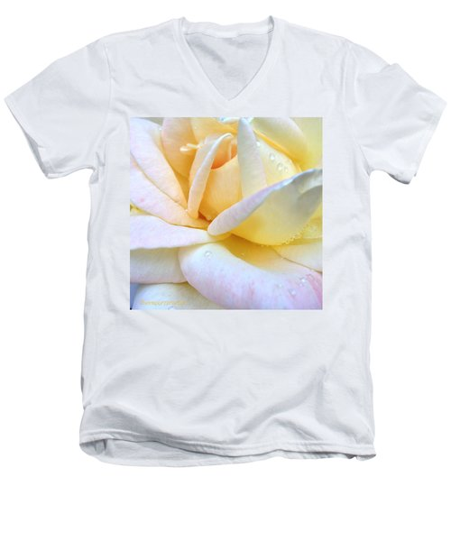 Morning Dew On A Pale Yellow Rose Men's V-Neck T-Shirt