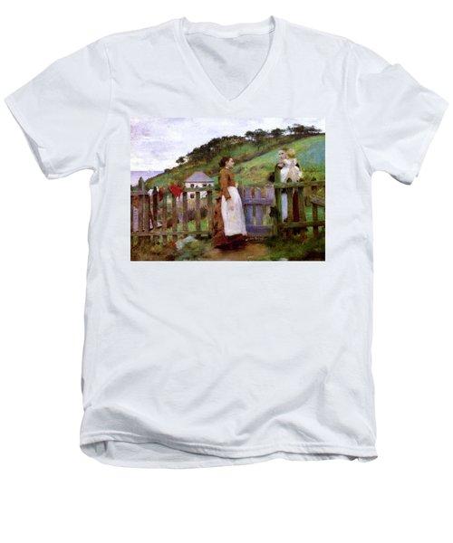 Men's V-Neck T-Shirt featuring the painting Morning Gossip by Henry Scott Tuke