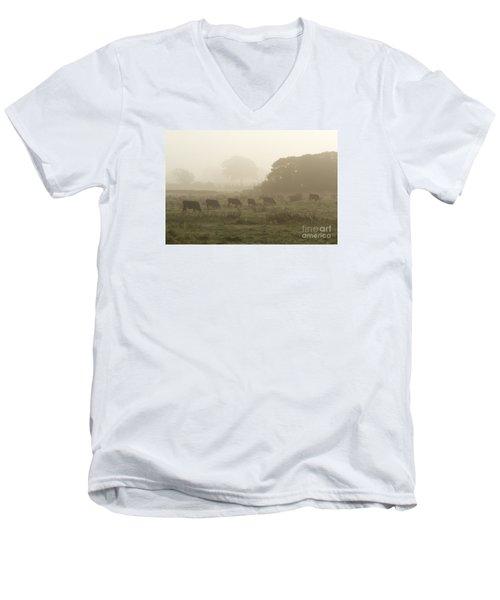 Men's V-Neck T-Shirt featuring the photograph Morning Graze by Gary Bridger
