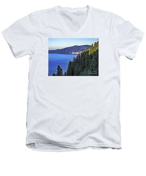 Men's V-Neck T-Shirt featuring the photograph Morning Light At Crater Lake, Oregon by Nancy Marie Ricketts
