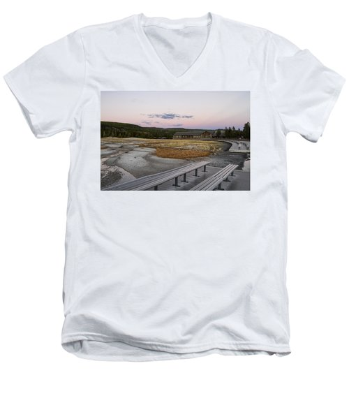 Morning Light At Old Faithful Men's V-Neck T-Shirt by Shirley Mitchell