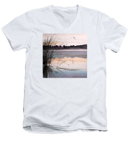 Men's V-Neck T-Shirt featuring the painting Morning Light by John Williams