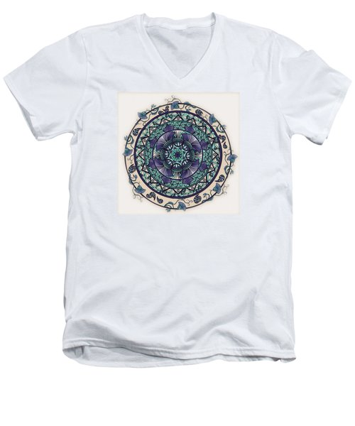 Men's V-Neck T-Shirt featuring the drawing Morning Mist Mandala by Deborah Smith