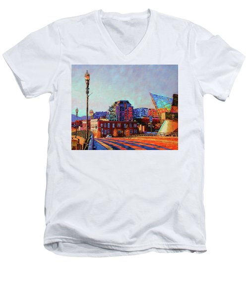 Morning Rush - The Corner Of Salem Avenue And Williamson Road In Roanoke Virginia Men's V-Neck T-Shirt by Bonnie Mason