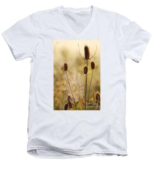 Morning Spider Web Men's V-Neck T-Shirt
