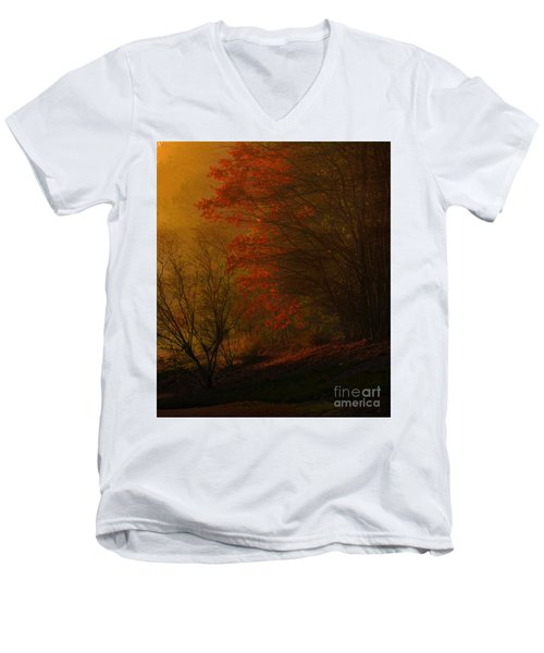 Morning Sunrise With Fog Touching The Tree Tops In Georgia. Men's V-Neck T-Shirt