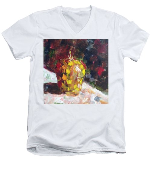 Mosaic Apple Men's V-Neck T-Shirt by Roxy Rich