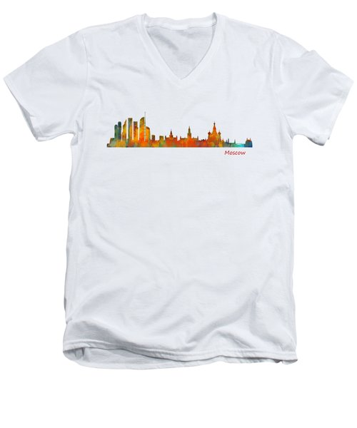 Moscow City Skyline Hq V1 Men's V-Neck T-Shirt by HQ Photo