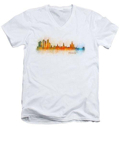 Moscow City Skyline Hq V3 Men's V-Neck T-Shirt by HQ Photo