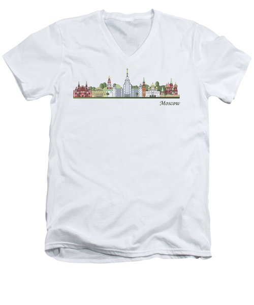 Moscow Skyline Colored Men's V-Neck T-Shirt by Pablo Romero