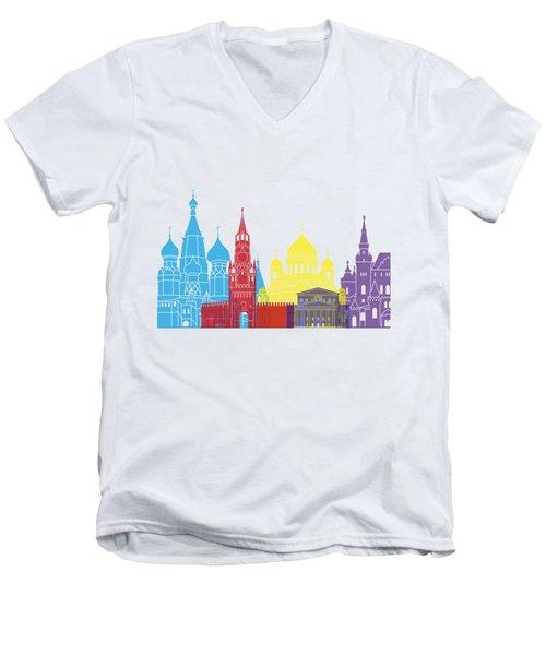 Moscow Skyline Pop Men's V-Neck T-Shirt by Pablo Romero