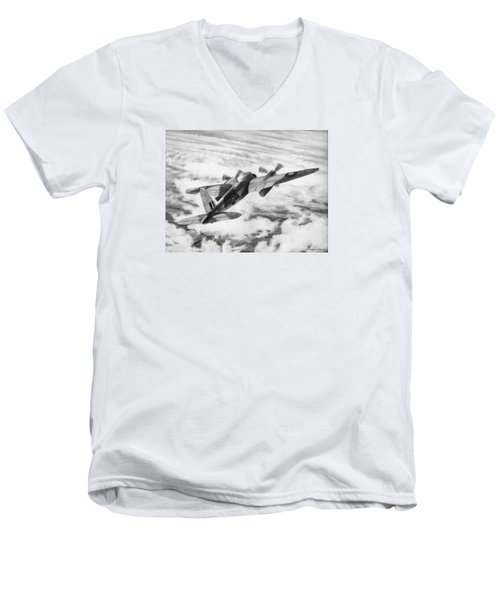 Mosquito Fighter Bomber Men's V-Neck T-Shirt by Douglas Castleman