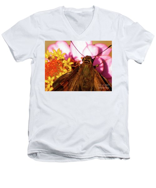 Moth On Pink And Yellow Flowers Men's V-Neck T-Shirt