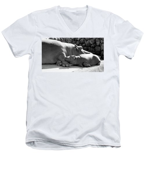 Mother And Baby Hippos Men's V-Neck T-Shirt