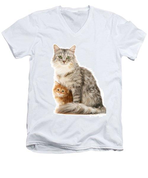 Mother Cat And Ginger Kitten Men's V-Neck T-Shirt