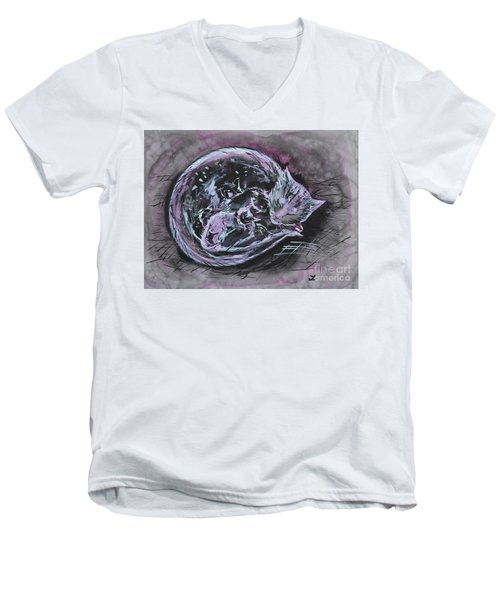 Men's V-Neck T-Shirt featuring the painting Mother Cat With Kittens by Zaira Dzhaubaeva