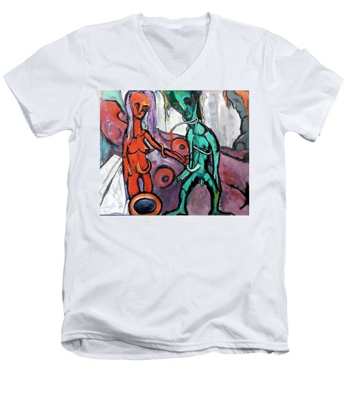 Men's V-Neck T-Shirt featuring the painting Mother-giant--offspring by Kenneth Agnello