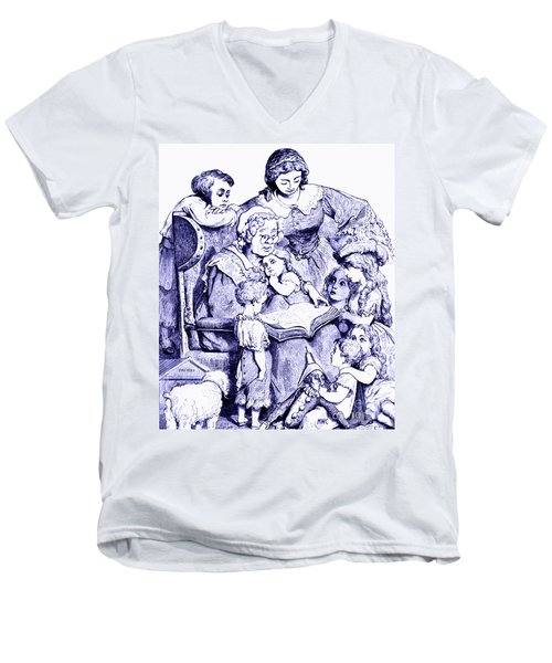 Men's V-Neck T-Shirt featuring the painting Mother Goose Reading To Children by Marian Cates