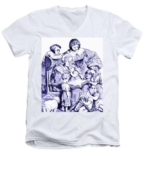 Vintage Mother Goose Reading To Children Men's V-Neck T-Shirt