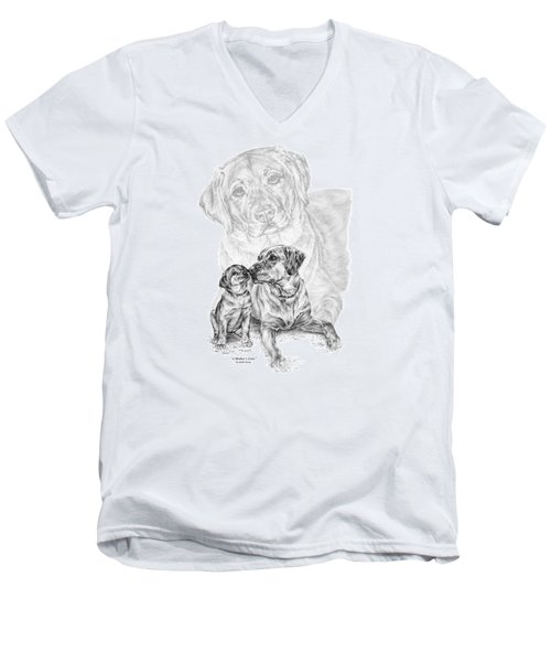 Mother Labrador Dog And Puppy Men's V-Neck T-Shirt by Kelli Swan
