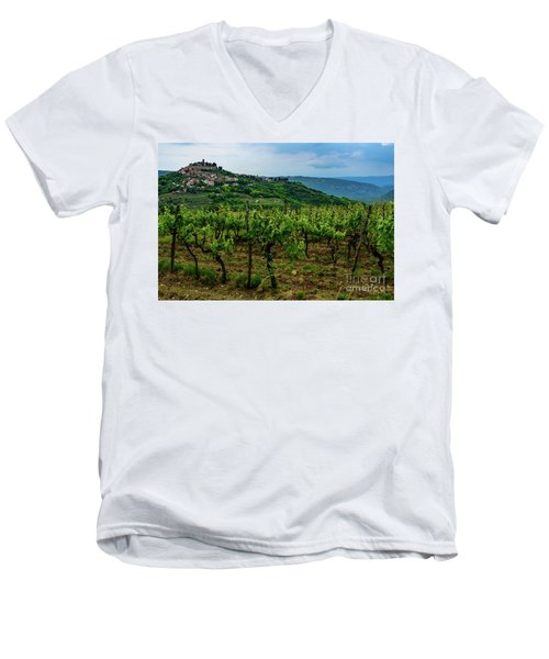 Motovun And Vineyards - Istrian Hill Town, Croatia Men's V-Neck T-Shirt