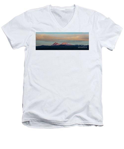 Mount Aragats, The Highest Mountain Of Armenia, At Sunset Under Beautiful Clouds Men's V-Neck T-Shirt by Gurgen Bakhshetsyan
